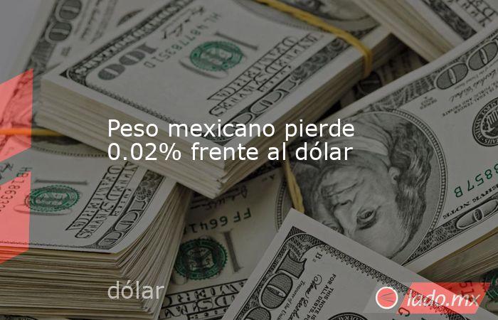 Peso mexicano pierde 0.02% frente al dólar. Noticias en tiempo real
