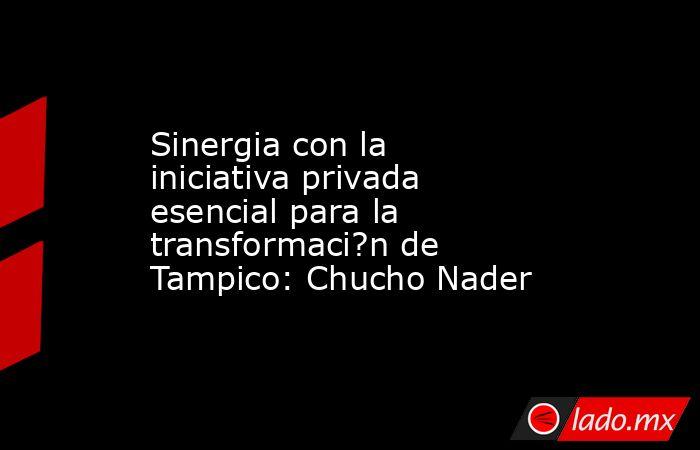 Sinergia con la iniciativa privada esencial para la transformaci?n de Tampico: Chucho Nader. Noticias en tiempo real