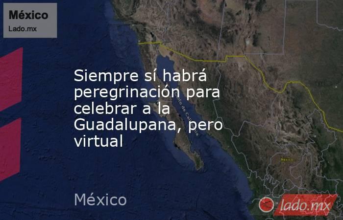 Siempre sí habrá peregrinación para celebrar a la Guadalupana, pero virtual. Noticias en tiempo real