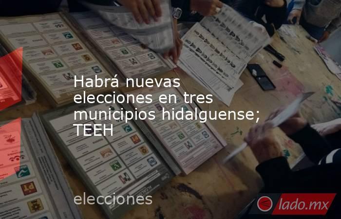 Habrá nuevas elecciones en tres municipios hidalguense; TEEH. Noticias en tiempo real