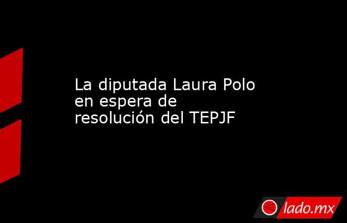 La diputada Laura Polo en espera de resolución del TEPJF. Noticias en tiempo real
