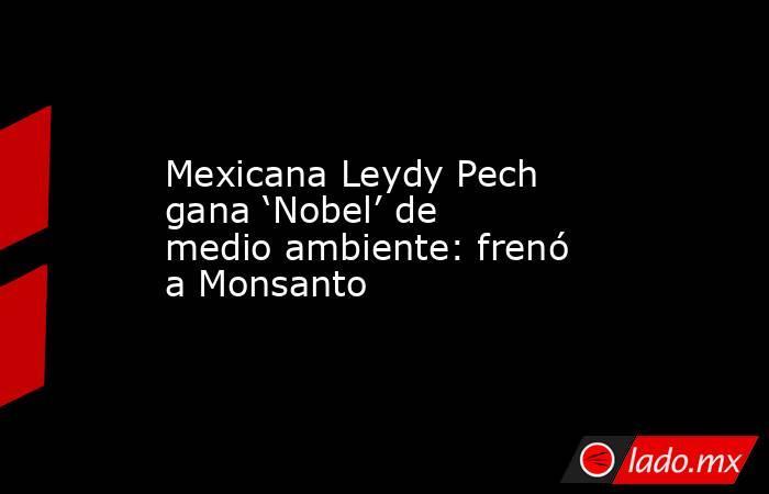 Mexicana Leydy Pech gana 'Nobel' de medio ambiente: frenó a Monsanto. Noticias en tiempo real