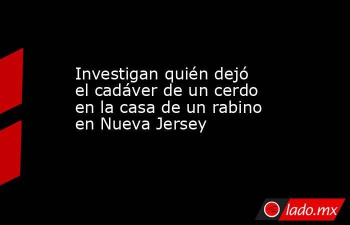 Investigan quién dejó el cadáver de un cerdo en la casa de un rabino en Nueva Jersey. Noticias en tiempo real