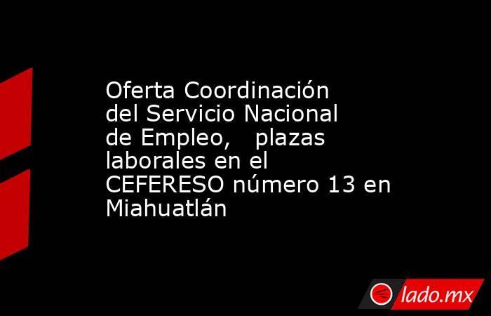 Oferta Coordinación del Servicio Nacional de Empleo,   plazas laborales en el CEFERESO número 13 en Miahuatlán. Noticias en tiempo real