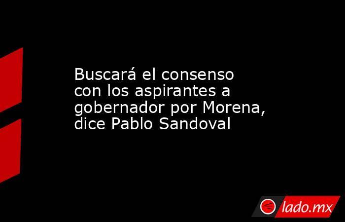 Buscará el consenso con los aspirantes a gobernador por Morena, dice Pablo Sandoval. Noticias en tiempo real