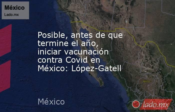 Posible, antes de que termine el año, iniciar vacunación contra Covid en México: López-Gatell. Noticias en tiempo real
