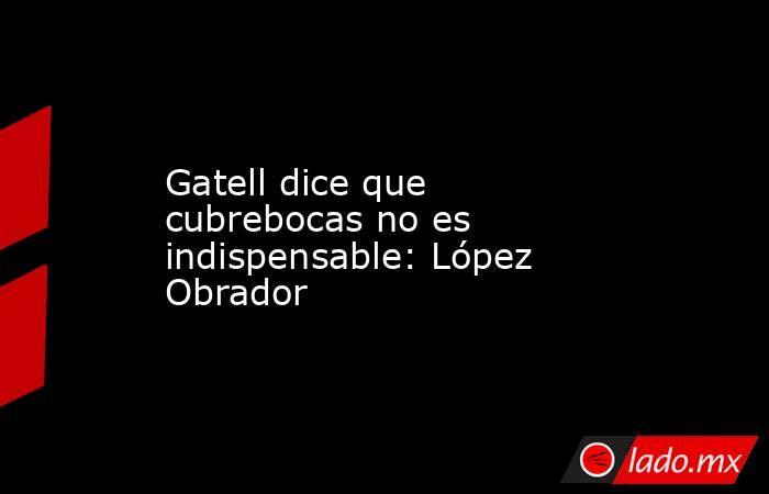 Gatell dice que cubrebocas no es indispensable: López Obrador. Noticias en tiempo real