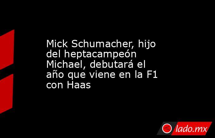 Mick Schumacher, hijo del heptacampeón Michael, debutará el año que viene en la F1 con Haas. Noticias en tiempo real