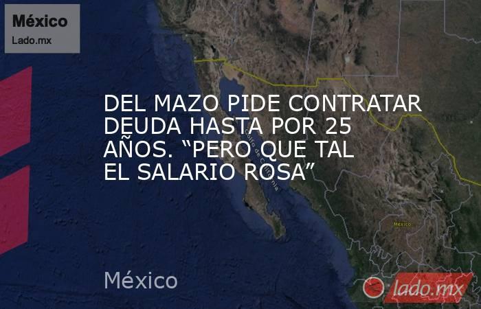 """DEL MAZO PIDE CONTRATAR DEUDA HASTA POR 25 AÑOS. """"PERO QUE TAL EL SALARIO ROSA"""". Noticias en tiempo real"""