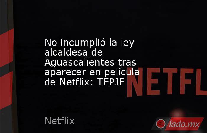 No incumplió la ley alcaldesa de Aguascalientes tras aparecer en película de Netflix: TEPJF. Noticias en tiempo real