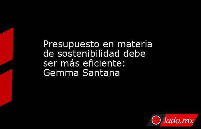 Presupuesto en materia de sostenibilidad debe ser más eficiente: Gemma Santana. Noticias en tiempo real