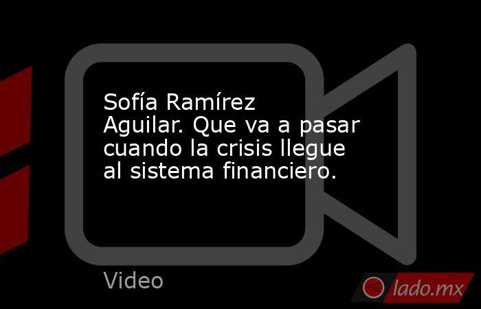 Sofía Ramírez Aguilar. Que va a pasar cuando la crisis llegue al sistema financiero.. Noticias en tiempo real