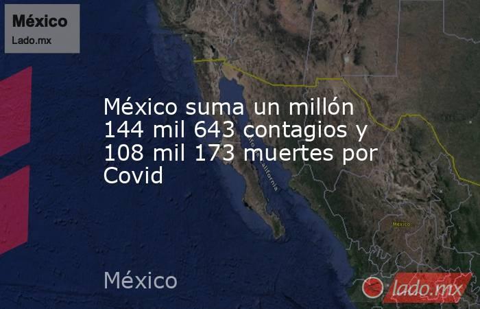 México suma un millón 144 mil 643 contagios y 108 mil 173 muertes por Covid. Noticias en tiempo real