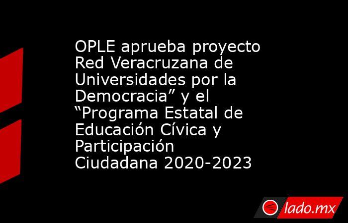"""OPLE aprueba proyecto Red Veracruzana de Universidades por la Democracia"""" y el """"Programa Estatal de Educación Cívica y Participación Ciudadana 2020-2023. Noticias en tiempo real"""