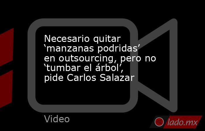 Necesario quitar 'manzanas podridas' en outsourcing, pero no 'tumbar el árbol', pide Carlos Salazar. Noticias en tiempo real