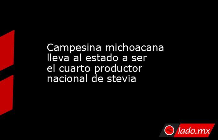 Campesina michoacana lleva al estado a ser el cuarto productor nacional de stevia. Noticias en tiempo real