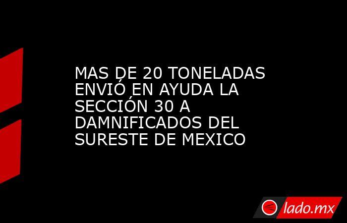 MAS DE 20 TONELADAS ENVIÓ EN AYUDA LA SECCIÓN 30 A DAMNIFICADOS DEL SURESTE DE MEXICO. Noticias en tiempo real