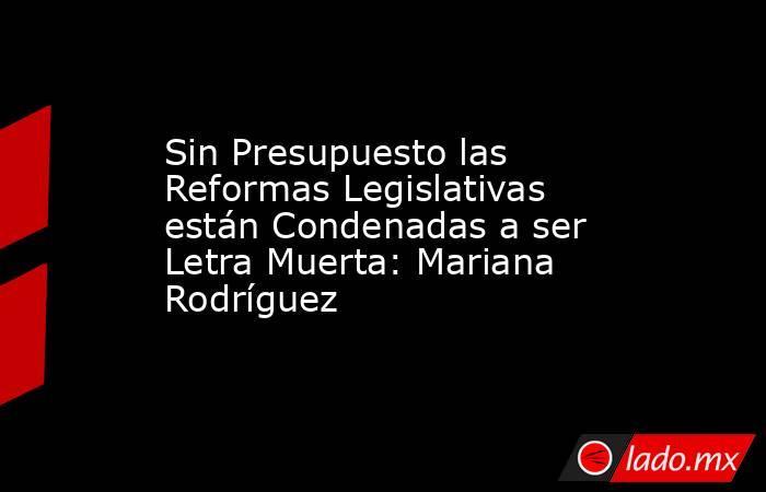 Sin Presupuesto las Reformas Legislativas están Condenadas a ser Letra Muerta: Mariana Rodríguez. Noticias en tiempo real