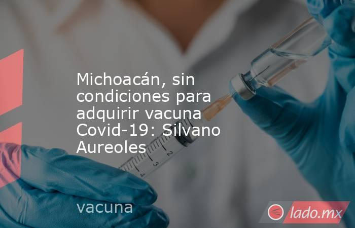 Michoacán, sin condiciones para adquirir vacuna Covid-19: Silvano Aureoles. Noticias en tiempo real
