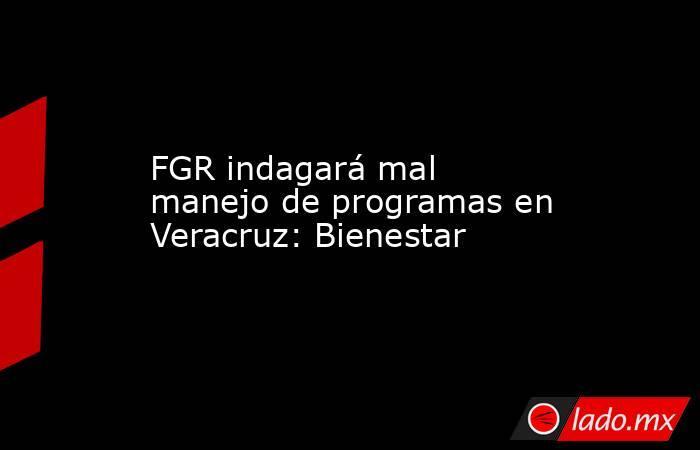 FGR indagará mal manejo de programas en Veracruz: Bienestar. Noticias en tiempo real