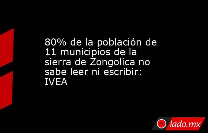 80% de la población de 11 municipios de la sierra de Zongolica no sabe leer ni escribir: IVEA. Noticias en tiempo real