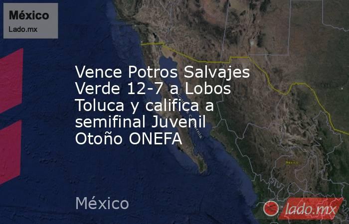 Vence Potros Salvajes Verde 12-7 a Lobos Toluca y califica a semifinal Juvenil Otoño ONEFA. Noticias en tiempo real