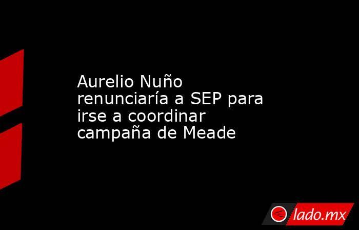Aurelio Nuño renunciaría a SEP para irse a coordinar campaña de Meade. Noticias en tiempo real