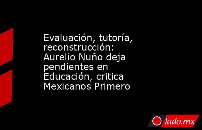 Evaluación, tutoría, reconstrucción: Aurelio Nuño deja pendientes en Educación, critica Mexicanos Primero. Noticias en tiempo real