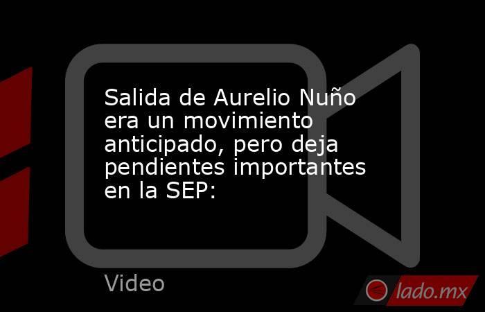Salida de Aurelio Nuño era un movimiento anticipado, pero deja pendientes importantes en la SEP:. Noticias en tiempo real