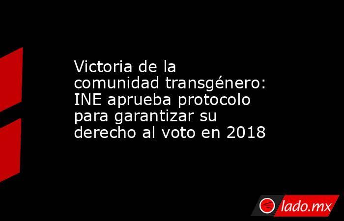 Victoria de la comunidad transgénero: INE aprueba protocolo para garantizar su derecho al voto en 2018. Noticias en tiempo real