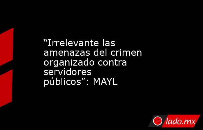 """""""Irrelevante las amenazas del crimen organizado contra servidores públicos"""": MAYL. Noticias en tiempo real"""