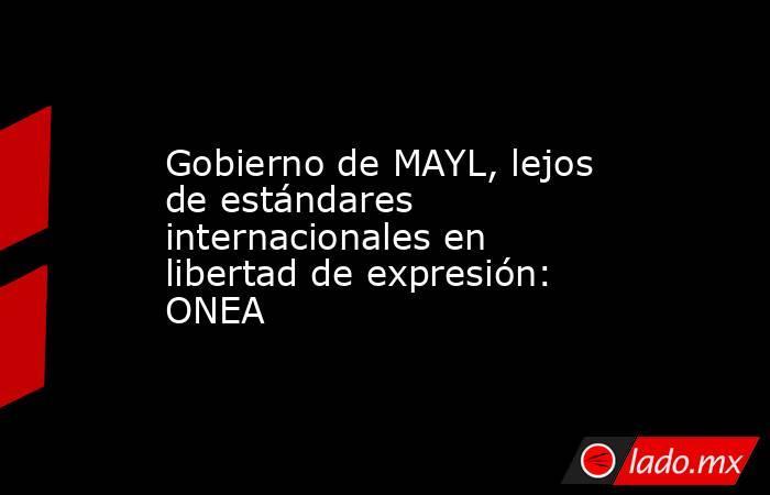 Gobierno de MAYL, lejos de estándares internacionales en libertad de expresión: ONEA. Noticias en tiempo real