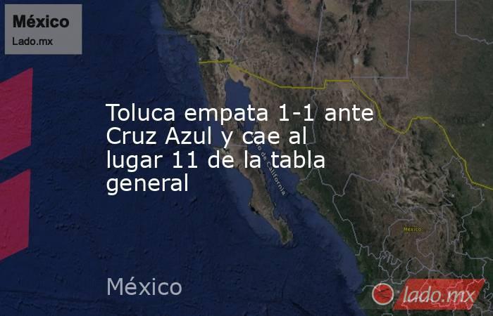 Toluca empata 1-1 ante Cruz Azul y cae al lugar 11 de la tabla general. Noticias en tiempo real