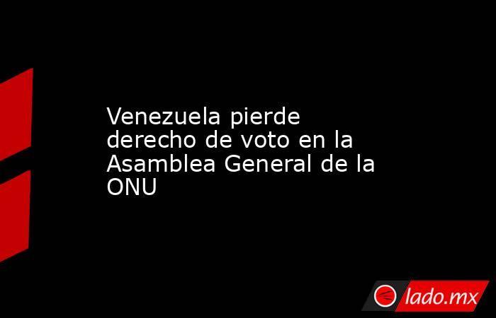 Venezuela pierde derecho de voto en la Asamblea General de la ONU. Noticias en tiempo real