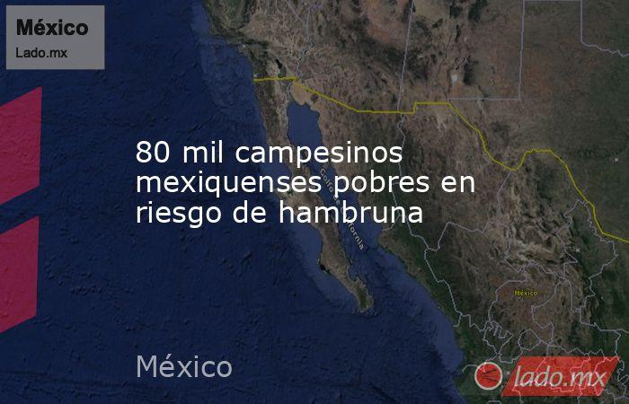 80 mil campesinos mexiquenses pobres en riesgo de hambruna. Noticias en tiempo real