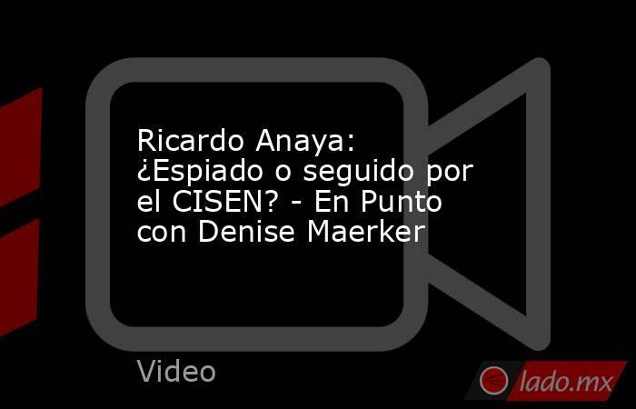 Ricardo Anaya: ¿Espiado o seguido por el CISEN? - En Punto con Denise Maerker. Noticias en tiempo real