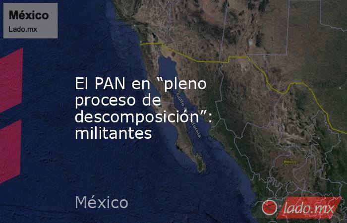 """El PAN en """"pleno proceso de descomposición"""": militantes. Noticias en tiempo real"""