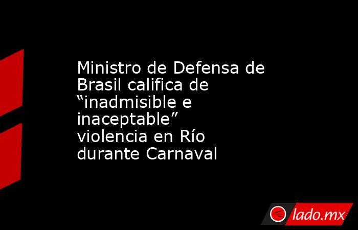 """Ministro de Defensa de Brasil califica de """"inadmisible e inaceptable"""" violencia en Río durante Carnaval. Noticias en tiempo real"""