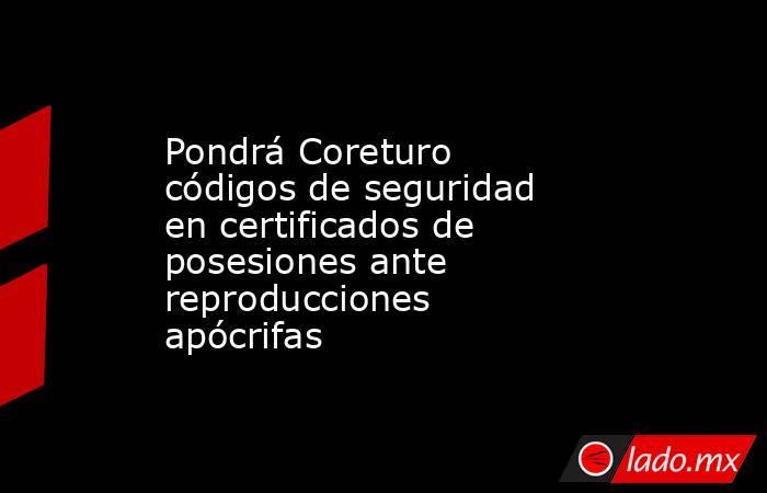 Pondrá Coreturo códigos de seguridad en certificados de posesiones ante reproducciones apócrifas. Noticias en tiempo real