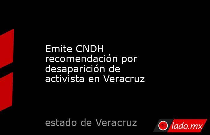 Emite CNDH recomendación por desaparición de activista en Veracruz. Noticias en tiempo real