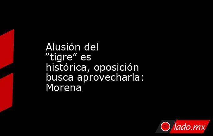 """Alusión del """"tigre"""" es histórica, oposición busca aprovecharla: Morena. Noticias en tiempo real"""