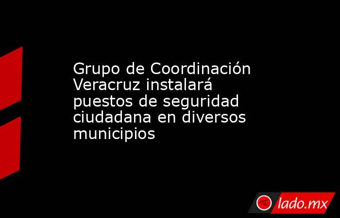 Grupo de Coordinación Veracruz instalará puestos de seguridad ciudadana en diversos municipios. Noticias en tiempo real