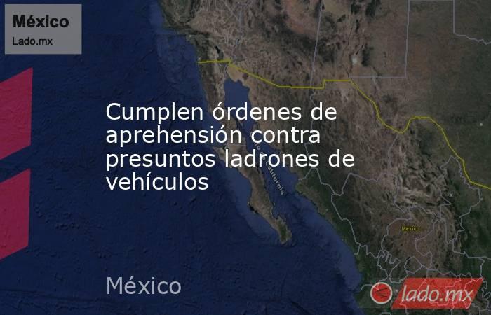Cumplen órdenes de aprehensión contra presuntos ladrones de vehículos. Noticias en tiempo real