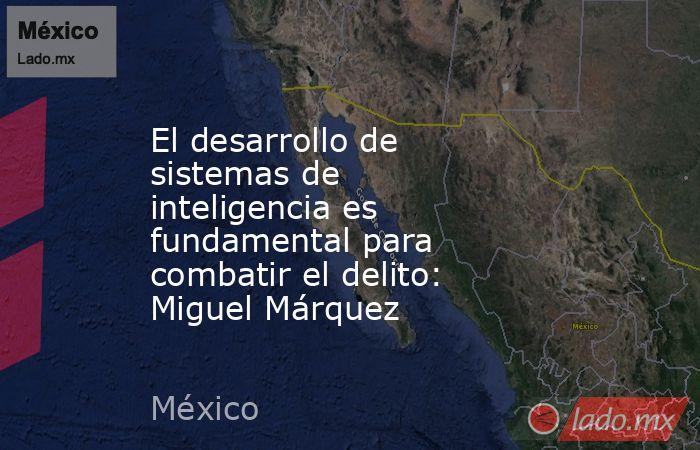 El desarrollo de sistemas de inteligencia es fundamental para combatir el delito: Miguel Márquez. Noticias en tiempo real