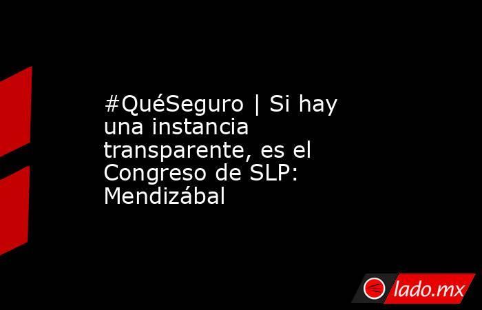 #QuéSeguro | Si hay una instancia transparente, es el Congreso de SLP: Mendizábal. Noticias en tiempo real