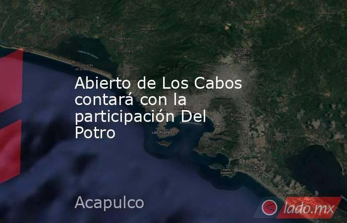Abierto de Los Cabos contará con la participación Del Potro. Noticias en tiempo real