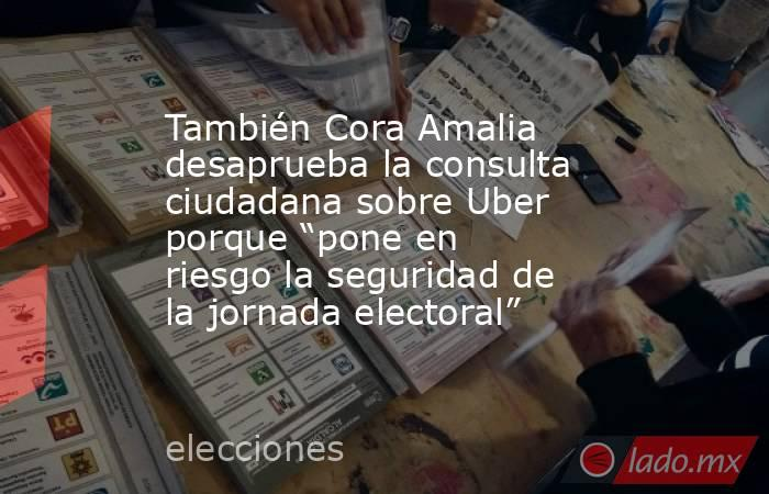 """También Cora Amalia desaprueba la consulta ciudadana sobre Uber porque """"pone en riesgo la seguridad de la jornada electoral"""". Noticias en tiempo real"""
