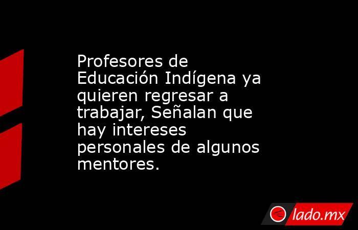 Profesores de Educación Indígena ya quieren regresar a trabajar, Señalan que hay intereses personales de algunos mentores.. Noticias en tiempo real