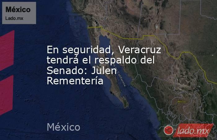 En seguridad, Veracruz tendrá el respaldo del Senado: Julen Rementería. Noticias en tiempo real