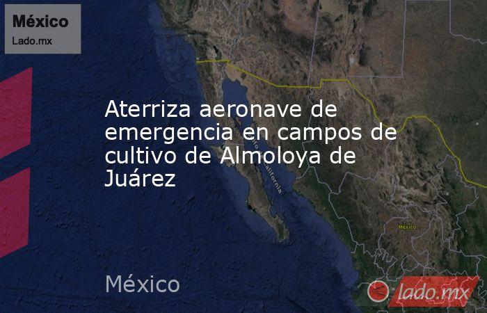 Aterriza aeronave de emergencia en campos de cultivo de Almoloya de Juárez. Noticias en tiempo real